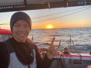 Alexia Barrier en mer pendant le Vendee Globe